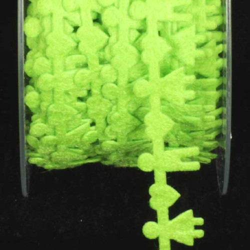 """Lime Green Felt Boys and Girls Woven Craft Ribbon 0.5"""" x 22 Yards - IMAGE 1"""