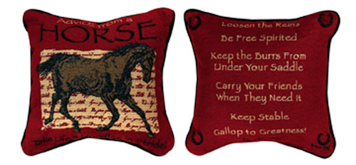 """12.5"""" Brick Red and Black Horse Inspired Quote Decorative Square Throw Pillow - IMAGE 1"""