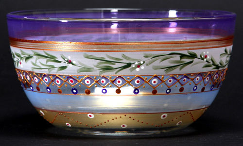 """Set of 2 Purple Mosaic Garland and Stripes Hand Painted Glass Serving Bowls 6"""" - IMAGE 1"""