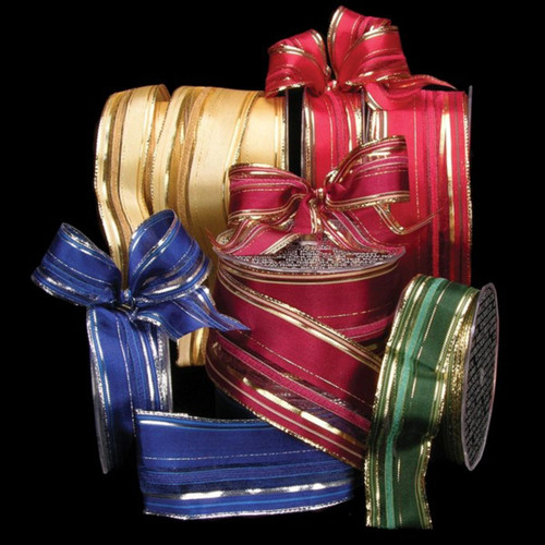 """Burgundy and Gold Colored Elegant Lines Woven Wired Craft Ribbon 2.5"""" x 25 Yards - IMAGE 1"""