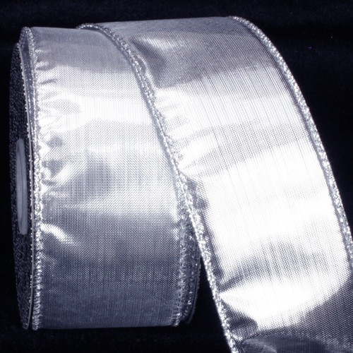 """Silver Solid Wire Edged Craft Ribbon 2"""" x 80 Yards - IMAGE 1"""