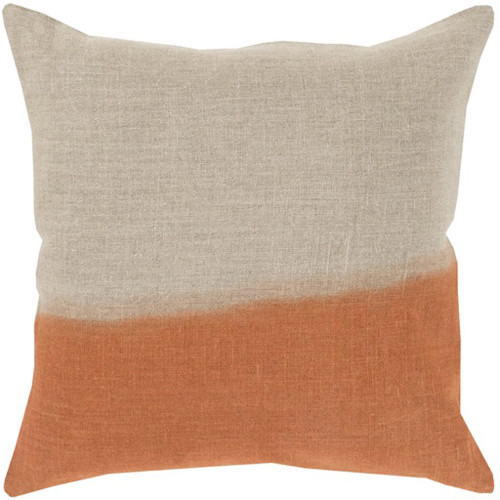 """18"""" Burnt Orange and Gray Dip Dyed Decorative Throw Pillow - Down Filler - IMAGE 1"""