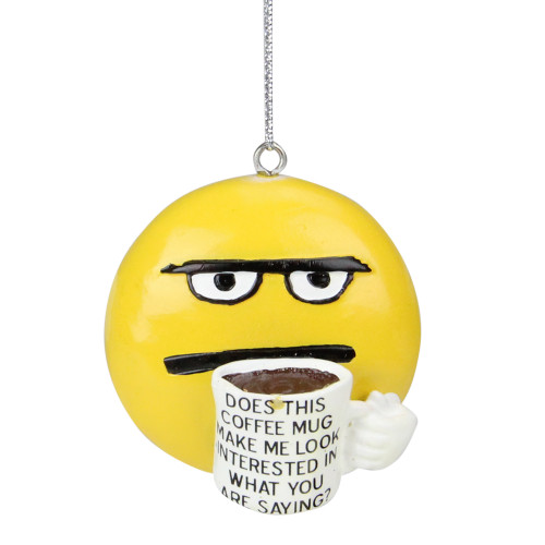 """2.25"""" Coffee Break Coff-E-Motion Emoticon Does This Make Me Look Interested Christmas Ornament - IMAGE 1"""