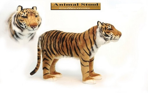 """30.5"""" Brown and Black Hand Crafted Realistic Stuffed Tiger Stool - IMAGE 1"""