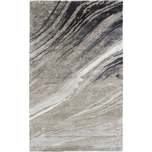 8' x 11' Contemporary Gray and Black Hand Tufted Rectangular Area Throw Rug - IMAGE 1