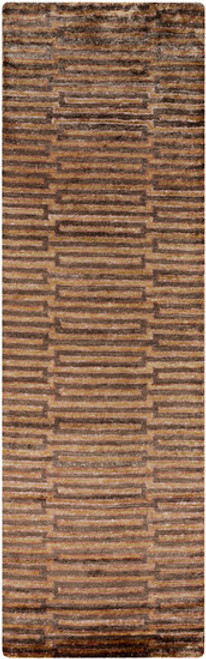 2.5' x 8' Red and Brown Hand-Knotted Area Throw Rug Runner - IMAGE 1