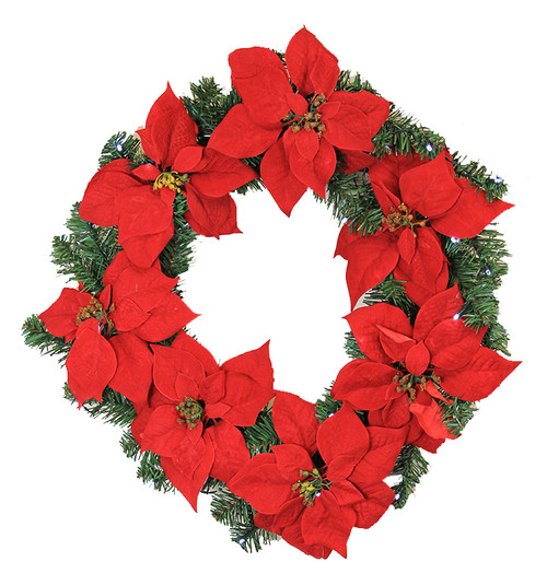 "22"" Pre-Lit Poinsettia Battery Operated Artificial Christmas Wreath - White Lights - IMAGE 1"
