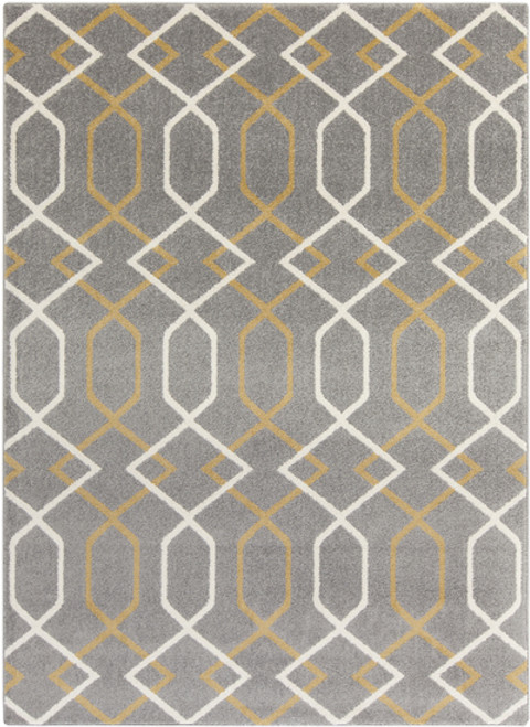 7.8' x 10.25' Entwine Passions Gray and Cream White Rectangular Area Throw Rug - IMAGE 1