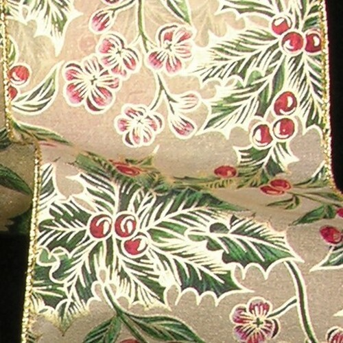 """Gold and Green Mistletoe Wired Craft Ribbon 4"""" x 20 Yards - IMAGE 1"""