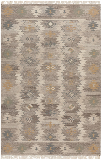 8' x 11' Woodland Retreat Moth Gray and Beige Hand Woven Rectangular Wool Area Throw Rug - IMAGE 1