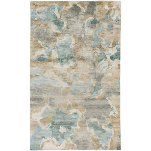 2' x 3' Teal Blue and Penny Brown Camouflage Hand Knotted Rectangular Area Throw Rug - IMAGE 1