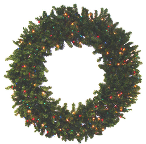 Pre-Lit Canadian Pine Artificial Christmas Wreath - 84-Inch, Multi Color Lights - IMAGE 1