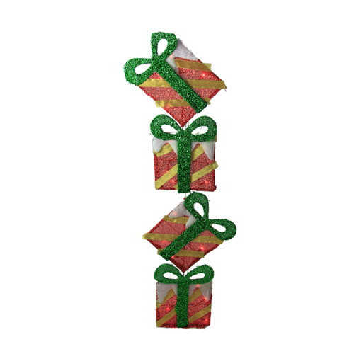 """43"""" Red Striped Flat Tinsel Stacked Gift Box Lighted Outdoor Decoration - IMAGE 1"""