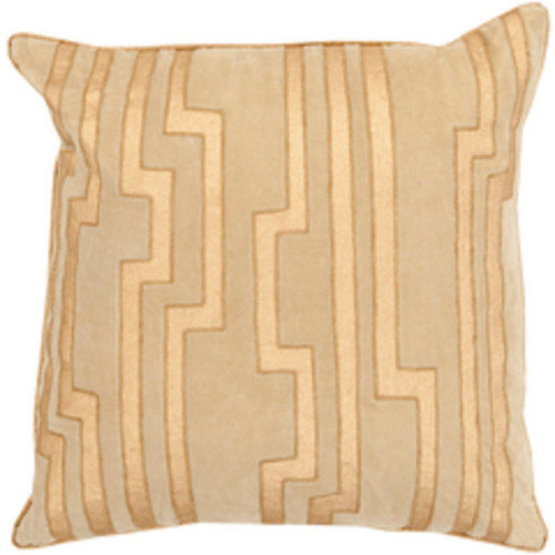 """18"""" Brown and Gold Decorative Square Throw Pillow - IMAGE 1"""