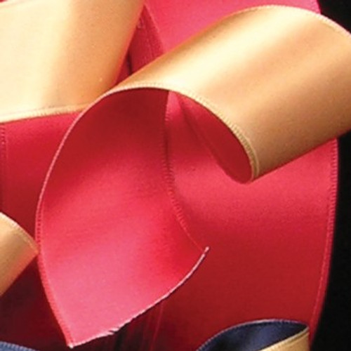 "Red and Gold Two-Tone Double Face Wired Craft Ribbon 1.5"" x 27 Yards - IMAGE 1"
