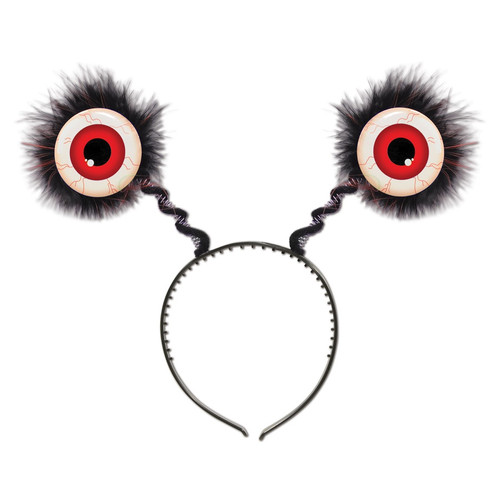 Club Pack of 12 Halloween Feathered Red Eyeball Bopper Headbands - IMAGE 1