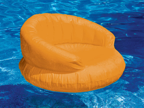 Inflatable Bright Orange Swimming Pool Chair Float, 38-Inch - IMAGE 1