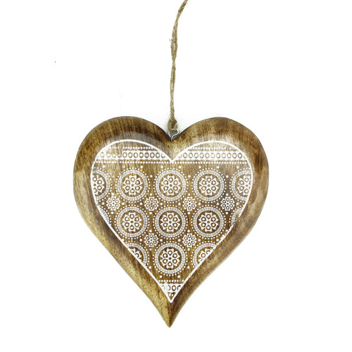 "8.5"" Alpine Heart with Snowflake Hanging Christmas Ornament - IMAGE 1"