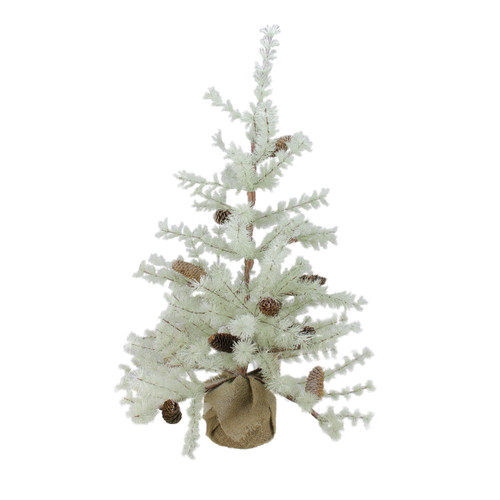 3' Green Frosted Green Pine Artificial Christmas Tree with Burlap Base - Unlit - IMAGE 1