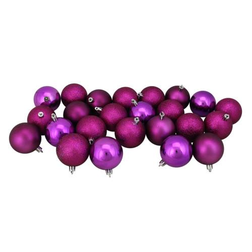 "24ct Purple Shatterproof 4-Finish Christmas Ball Ornaments 2.5"" (60mm) - IMAGE 1"