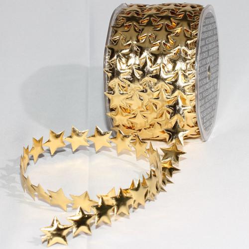 "Gold Fine Lame Stars Craft Ribbon 0.75"" x 20 Yards - IMAGE 1"