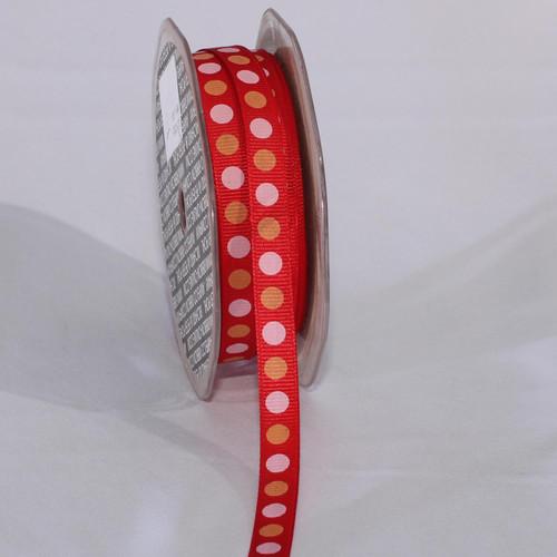"""Orange and Pink Polka Dots Craft Ribbon 0.375"""" x 120 Yards - IMAGE 1"""