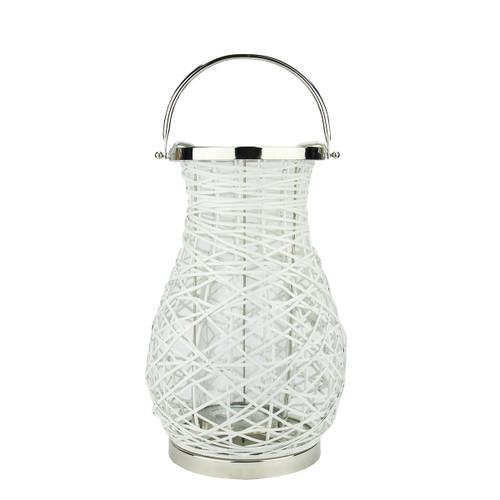 "16.25"" Modern White Decorative Woven Iron Pillar Candle Lantern with Glass Hurricane - IMAGE 1"