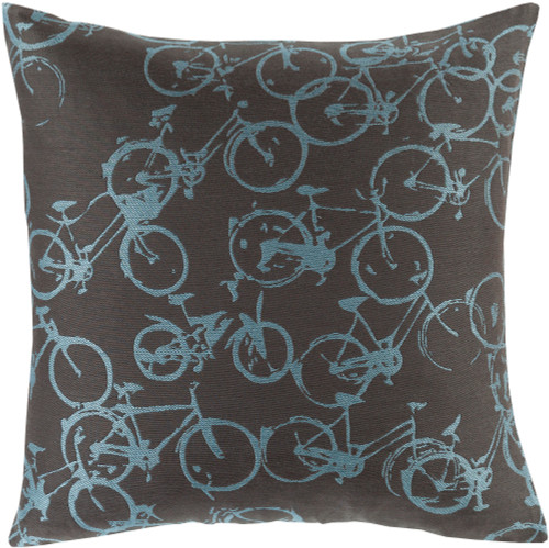 """20"""" Blue and Black Cycles Printed Decorative Throw Pillow - Down Filler - IMAGE 1"""