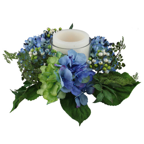 """16"""" Decorative Artificial Blue and Green Hydrangea and Berry Hurricane Glass Candle Holder - IMAGE 1"""