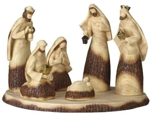 """Set of 7 Brown and Beige Wood Look Religious Christmas Nativity Set with Base 19"""" - IMAGE 1"""