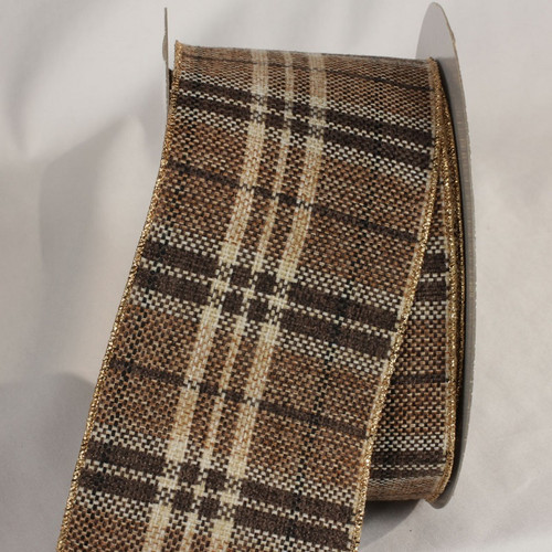 """Mocha Brown and Beige Plaid Wired Craft Ribbon 4"""" x 20 Yards - IMAGE 1"""