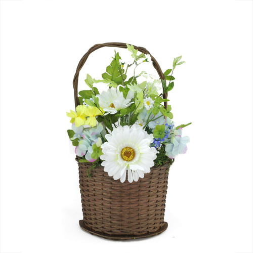 """14.5"""" Blue and White Mixed Flower Artificial Spring Floral Arrangement with Basket - IMAGE 1"""