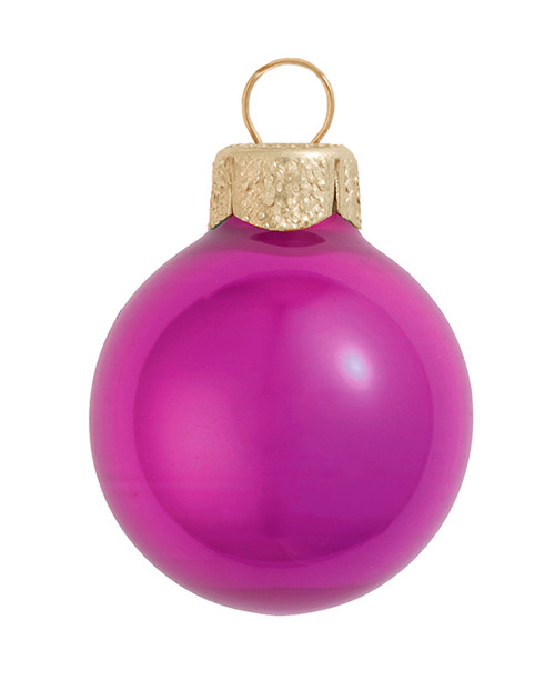 """28ct Raspberry Pink Pearl Glass Christmas Ball Ornaments 2"""" (50mm) - IMAGE 1"""