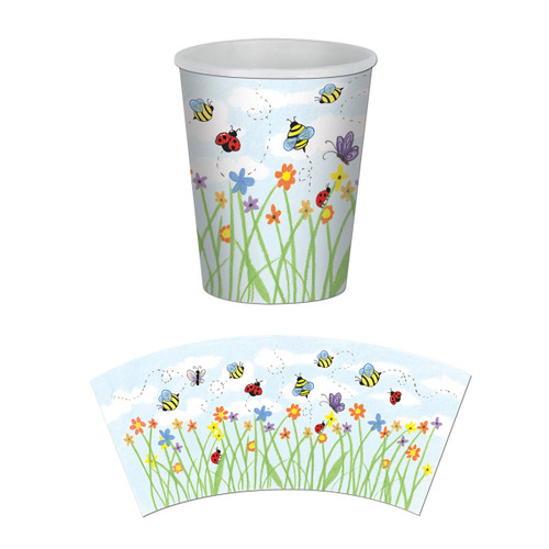 Club Pack of 96 Green and Blue Garden Disposable Paper Drinking Party Tumbler Cups 9 oz. - IMAGE 1