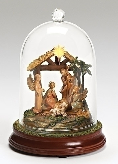 "7.25"" Brown and Yellow LED Lighted Musical Cloche Dome Nativity Scene Christmas Decor - IMAGE 1"