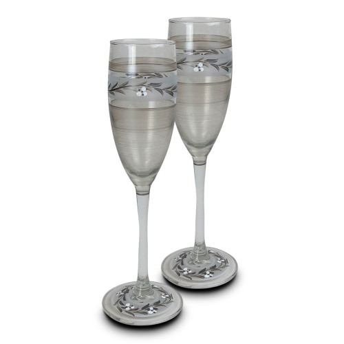 """Set of 2 Silver Hand Painted Champagne Flute Stemware Glasses 8.75"""" - IMAGE 1"""