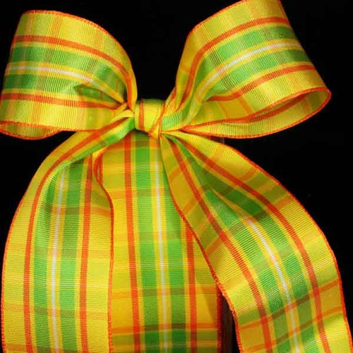 """Yellow and Green Woven Narrow Plaid Wired Craft Ribbon 1.5"""" x 22 Yards - IMAGE 1"""
