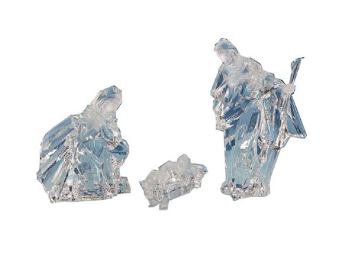 """Set of 6 Icy Clear Religious Holy Family Christmas Nativity Figurines 8"""" - IMAGE 1"""