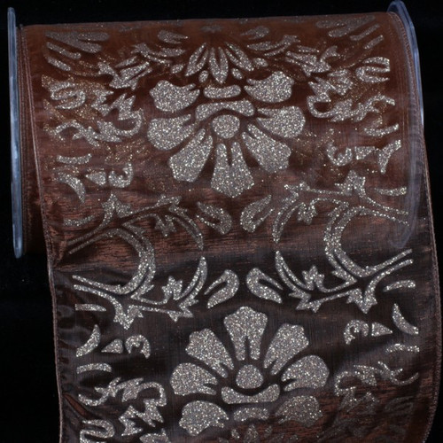 """Sheer Brown and Gold Wired Craft Ribbon 6"""" x 20 Yards - IMAGE 1"""
