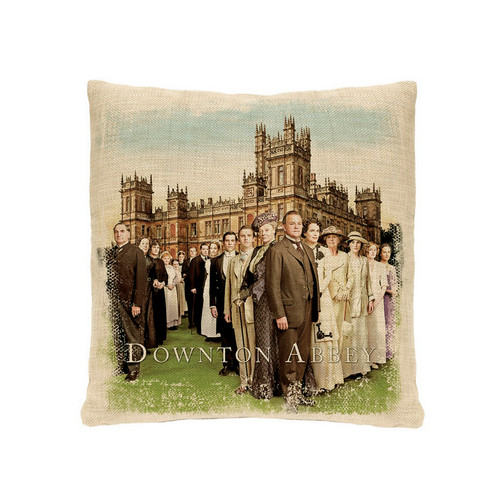 """18"""" Brown and Green Downton Abbey Cast Square Throw Pillow - IMAGE 1"""
