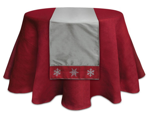 "6' x 15.5"" Gray and Red Embroidered Snowflake Christmas Table Runner - IMAGE 1"