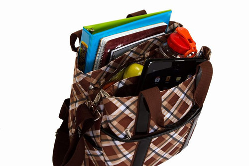 Fashionable Hybrid Tote W/ Sections For Files, A Tablet & Lunch - Saddle Plaid - IMAGE 1