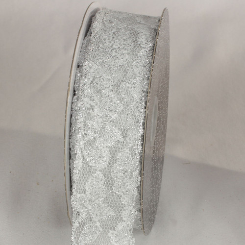 "Silver Solid Lace Craft Ribbon 1.5"" x 40 Yards - IMAGE 1"
