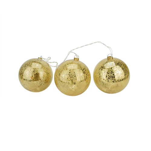 20-count Gold Ball Ornaments Mini Christmas Light Set, 1.5ft White Wire - IMAGE 1