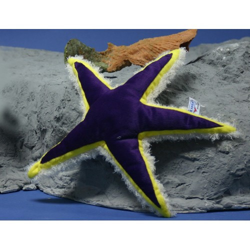 "Set of 4 Purple and Yellow Handcrafted Soft Plush Starfishes 14.5"" - IMAGE 1"