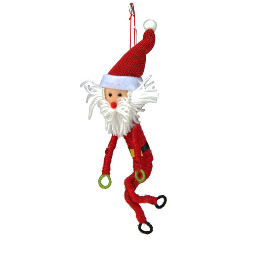 "9"" Red and White Wrap It Up Santa Claus Christmas Ornament - IMAGE 1"