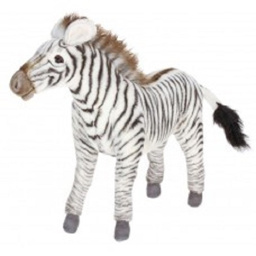 """Set of 2 Black and White Handcrafted Soft Plush Grevy's Zebra Stuffed Animals 13.25"""" - IMAGE 1"""