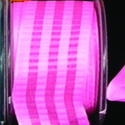 "Pink Block Print Wired Craft Ribbon 0.75"" x 54 Yards - IMAGE 1"