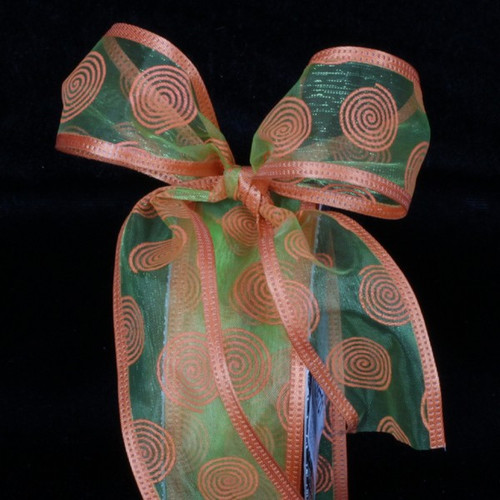 """Orange and Lime Green Sheer Wire Edged Craft Ribbon 1.5"""" x 80 Yards - IMAGE 1"""