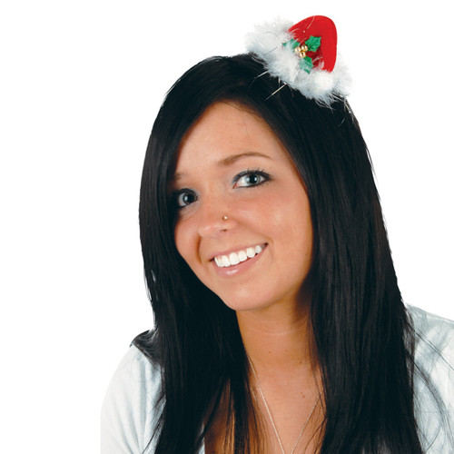 Club Pack of 12 Red and White Santa Hat Hair Christmas Clip Costume Accessories - One Size - IMAGE 1